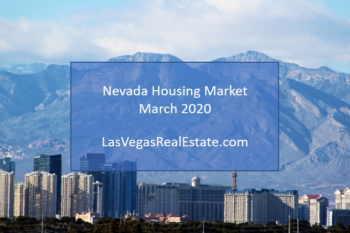 """an aerial view of skyscrapers and a mountain, there are also words in the middle saying """"nevada housing market - march 2020"""" - LasVegasRealEstate.com"""