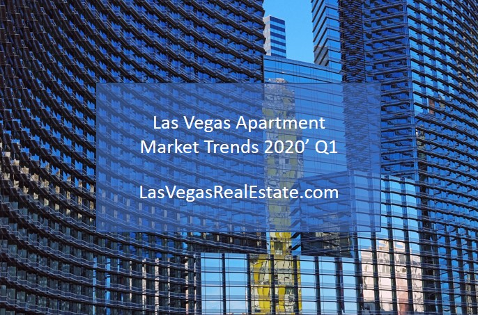 "a photo of blue and tall skyscrapers, in the middle there are words saying ""las vegas apartment market trends 2020' Q1"" - LasVegasRealEstate.com"